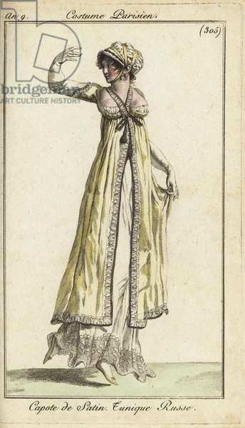 Fashionable woman dancing at a ball, 1801 (handcoloured copperplate engraving)