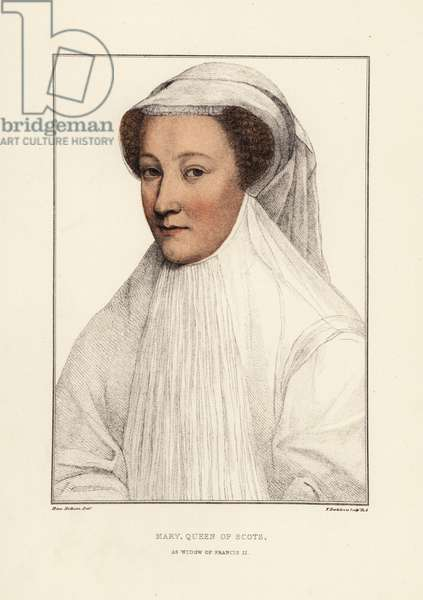 Mary, Queen of Scots, or Mary Stuart (1542-1567). Handcoloured copperplate engraving by Francis Bartolozzi after Hans Holbein from Facsimiles of Original Drawings by Hans Holbein, Hamilton, Adams, London, 1884.