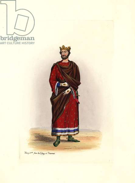 """King Henry II (1133-1189), wearing a crown, a velvet coat on a scarlet tunic, with green golden spur shoes and white gloves. Inspired by Charles Alfred Stothard (1786-1821), after an effigy of the Abbey of Fontevraud (France). Lithograph by Charles Martin, engraving by Leopold Martin, published in """""""" Costumes civils d'Angleterre depuis la conquete à nos jours"""", 1842, London."""