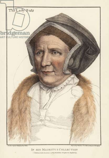 Margaret Bacon, Lady Butts, lady-in-waiting to Princess Mary, daughter and heir of John Bacon, wife of William Butts. Handcoloured copperplate engraving by Francis Bartolozzi after Hans Holbein from Facsimiles of Original Drawings by Hans Holbein, Hamilton, Adams, London, 1884.