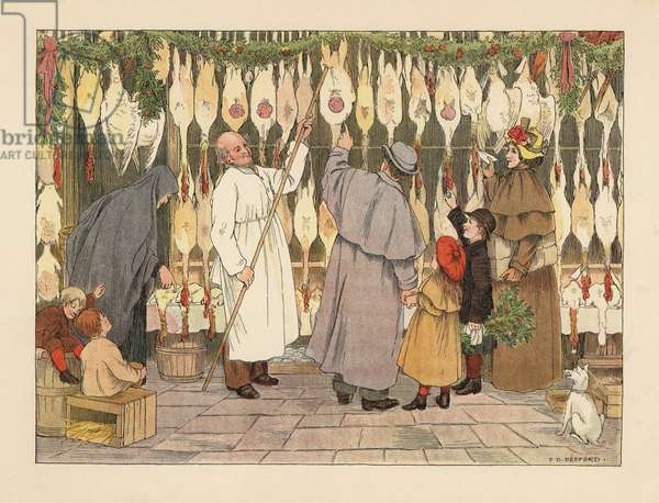 Victorian family choosing a turkey for Christmas at the poulterers. Butcher in smock with a hook removing a bird. Chromolithograph after an illustration by Francis Donkin Bedford from Edward Verrall Lucas' The Book of Shops, 1899.