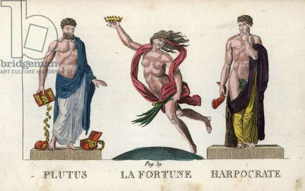 "Ancient mythology: Ploutos, divinite of wealth and abundance, Fortuna, divinite of chance or luck and Harpocrates, divinite of silence - Eau forte by Jacques Louis Constant Lacerf, following an illustration by Leonard Defrance (1735-1805), extracted from mythology in fabulous prints or divine figures, circa 1820 - Plutus, Fortuna and Harpocrates, Greek and Roman gods of wealth, luck, and silence - Handcoloured copperplate engraving engraved by Jacques Louis Constant Lacerf after illustrations by Leonard Defrance from """" Mythology in Prints or Figures of Fabled Gods"""", Chez P. Blanchard, Paris, c 1820"
