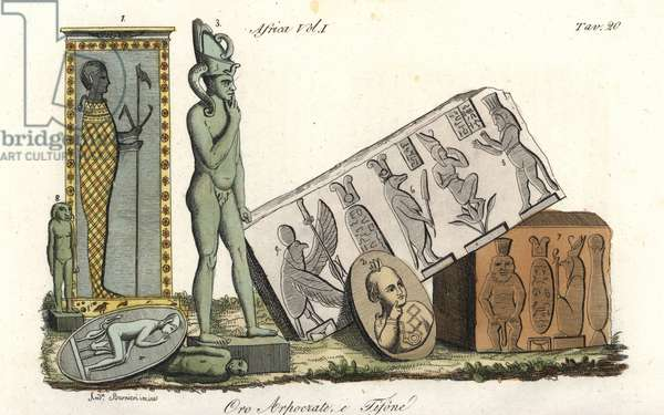 Egyptian gods Horus, Harpocrates 1-4, Typhon or Set 5-8, and vulture god Nehkbet 9. Handcoloured copperplate engraving by Andrea Bernieri from Giulio Ferrario's Costumes Antique and Modern of All Peoples (Il Costume Antico e Moderno di Tutti i i Popoli), 1843.