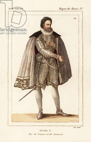 King Henry IV of France and Navarre. In costume for the 1600 ceremony of marriage to Marie de Medici. Drawn and lithographed by Alexandre Massard after a contemporary print from Le Bibliophile Jacob aka Paul Lacroix's Costumes Historique de la France (Historical Costumes of France), Administration de Librairie, Paris, 1852.
