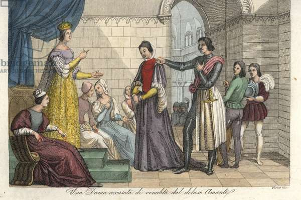 A woman accused of venality by her disappointed lover is judged by Queen Eleanor of Aquitaine (Alienor d'Aquitaine or Eleonore de Guyenne, ca. 1122-1204). Handcoloured copperplate engraving by Verico after Francesco Hayez from Giulio Ferrario's Ancient and Modern Costumes of all the Peoples of the World, 1844