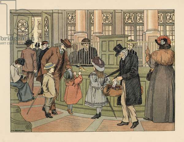 Victorian family at a bank withdrawing money from a teller with bank slips. Chromolithograph after an illustration by Francis Donkin Bedford from Edward Verrall Lucas' The Book of Shops, 1899.