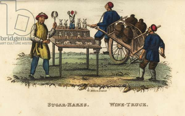Chinese seller of sugar hares or mooncakes at the 4th moon, and truck to carry Chinese wine, beer brewed from millet, Qing Dynasty. Handcoloured copperplate engraving by Andrea Freschi after Antoine Cardon from Henri-Leonard-Jean-Baptiste Bertin and Jean Baptiste Joseph Breton's China, Its Costumes, Arts, Manufactures, etc., Howlett and Brimmer, London, 1824.