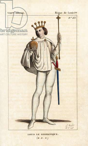 """Louis II the German, King of Bavaria, 806. Handcoloured copperplate drawn and engraved by Leopold Massard from """""""" French Costumes from KingClovis to Our Days,"""""""" Massard, Mifliez, Paris, 1834."""