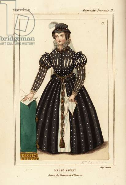 Mary Queen of Scots, Marie Stuart, Queen of France and Scotland. Illustration drawn and lithographed by Madame Calon after a portrait in Roger de Gaignieres' gallery portfolio IX 4 from Le Bibliophile Jacob aka Paul Lacroix's Costumes Historique de la France (Historical Costumes of France), Administration de Librairie, Paris, 1852.