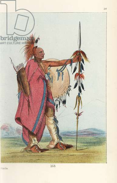 Warrior tal-lee of the Osage nation. His head is shaved and adorned with a dyed-red deer hair crest. He carries a lance, quiver and shield, and wears leggings and moccasins fringed with scalps. Handcoloured lithograph from George Catlin's Manners, Customs and Condition of the North American Indians, London, 1841.