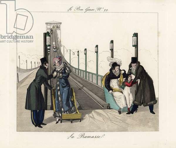 A gentleman helps a woman step down from a car after a descent down the rollercoaster at Roule (Place de Ternes). Handcoloured engraving from Pierre de la Mesanger's Le Bon Genre, Paris, 1817.