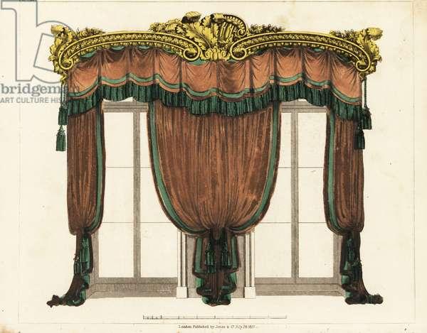 Drawing-room window curtains, Regency style
