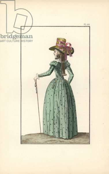 Woman in a sea-green redingote with two collars, gauze fichu, felt hat in canary decorated with ribbons, her hair tied with a hairpin a la Cagliostro. She holds a long cane or badine. Handcoloured lithograph from Fashions and Customs of Marie Antoinette and her Times, by Le Comte de Reiset, Paris, 1885. The journal of Madame Eloffe, dressmaker and linen-merchant to the Queen and ladies of the court.