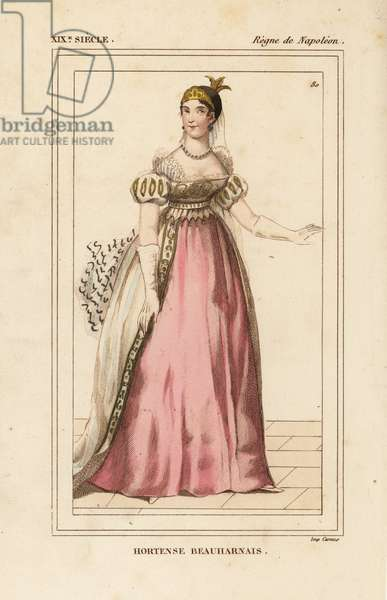 Hortense Beauharnais, Queen consort of Holland, daughter of Josephine 1783-1837. Handcoloured lithograph from Le Bibliophile Jacob aka Paul Lacroix's Costumes Historique de la France (Historical Costumes of France), Administration de Librairie, Paris, 1852.