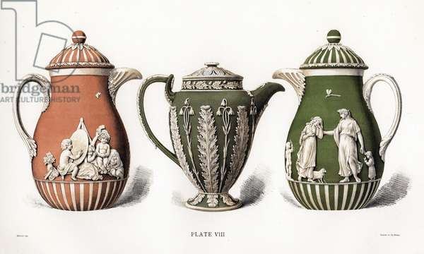 Coffee pot showing the infant academy, Chocolate pot with acanthus foliage, and Coffee pot with women and children. Chromolithograph drawn by Grivell and lithographed by Parrot et Co. from Frederick Rathone's Old Wedgwood, the Decorative or Artistic Ceramic Work Produced by Josiah Wedgwood, Quaritch, London, 1898.