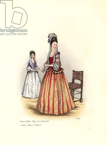 """Costume of Queen Mary II (1662-1694), wearing a lace headdress with a veil, a short corset and a long striped skirt. From a portrait of Vissher. Lithograph by Charles Martin, engraving by Leopold Martin, published in """""""" Costumes civils d'Angleterre depuis la conquete au nos jours"""", 1842, London."""