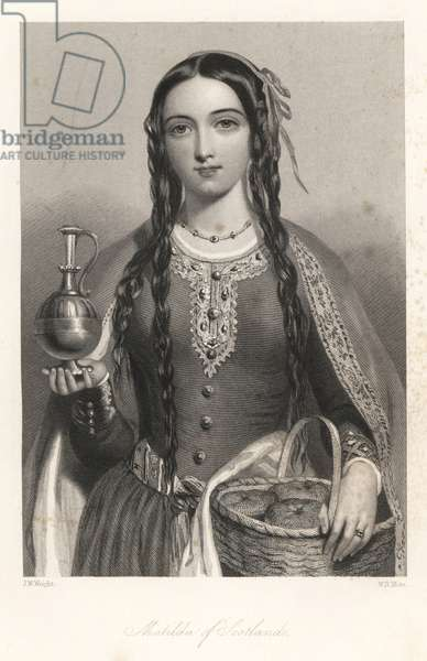 Mathilde of Scotland - Matilda of Scotland, wife of King Henry I, Queen of England, with a basket of bread and metal jug. Steel engraving by W.H. Mote after a portrait by J.W. Wright from Mary Howitt's Biographical Sketches of The Queens of England, Virtue, London, 1868.