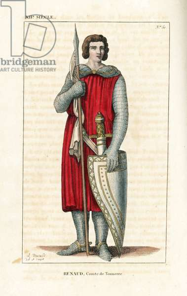 """Renaud or Bernard, son of William II (William II) Count of Tonnerre, died 1148 on a crusade in Latakia, Syria. He wears a suit of chainmail under a tunic, and holds a lance with banderole, sword, and buckler (shield) without heraldic coat of arms. From a statue. Handcoloured copperplate drawn and engraved by Leopold Massard from """""""" French Costumes from KingClovis to Our Days,"""""""" Massard, Mifliez, Paris, 1834."""