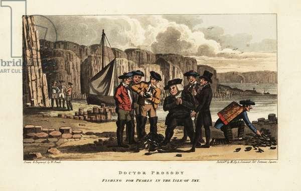 English tourists watch Scottish fishermen opening pearl oysters on the Isle of Skye, Scotland