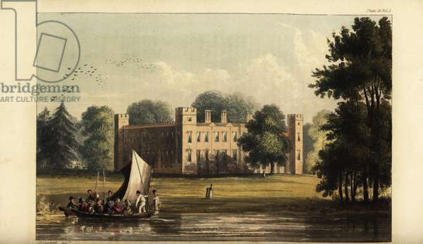 Sion House or Syon House, Isleworth, seat of the Duke of Northumberland, in gardens designed by Capability Brown. Handcoloured copperplate engraving after an illustration by John Gendall from Rudolph Ackermann's Repository of Arts, London, 1823.