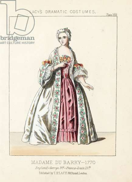 "Jeanne Becu, Madame du Barry, lady of rank, reign of George III, Louis XV, 1760. Handcoloured lithograph from Thomas Hailes Lacy's """" Female Costumes Historical, National and Dramatic in 200 Plates,"" London, 1865. Lacy (1809-1873) was a British actor, playwright, theatrical manager and publisher."