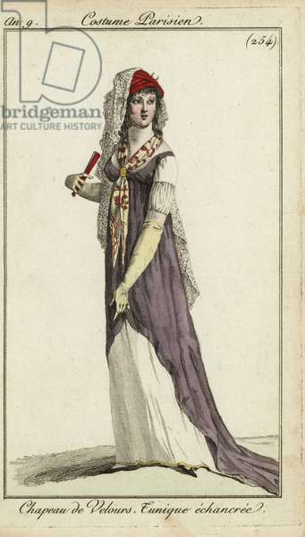 Fashionable woman with a fan, 1800 (handcoloured copperplate engraving)