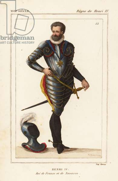 King Henry IV of France and Navarre in suit of armour. Drawn and lithographed by Alexandre Massard after a 1610 engraving from Le Bibliophile Jacob aka Paul Lacroix's Costumes Historiques de la France (Historical Costumes of France), Administration de Librairie, Paris, 1852.