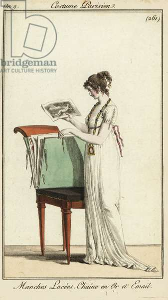 Woman looking at a portfolio of engravings, 1800 (handcoloured copperplate engraving)
