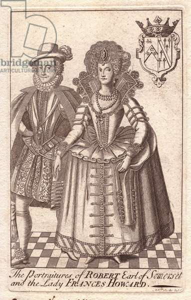 Robert Carr, Earl of Somerset, and Frances Howard, Countess of Somerset (1590 - 1632), notorious murderous English aristocrats. Married at 14 to the Earl of Essex, Frances spent years trying to annul the marriage so she could marry her true love Robert Carr, Earl of Somerset. The annulment was vehemently opposed by Sir Thomas Overbury, but in 1613, he was poisoned in prison by Howard's maid Anne Turner, allowing Frances to finally divorce her first husband and remarry Carr. In the trial in 1615, Frances and Robert were found guilty of plotting to murder Overbury, sent to prison, but pardoned by James I in 1622.