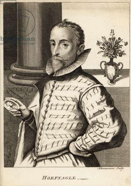 Portrait of Joris Hoefnagel, Flemish painter, printmaker, miniaturist, draftsman and merchant, 1542-1601