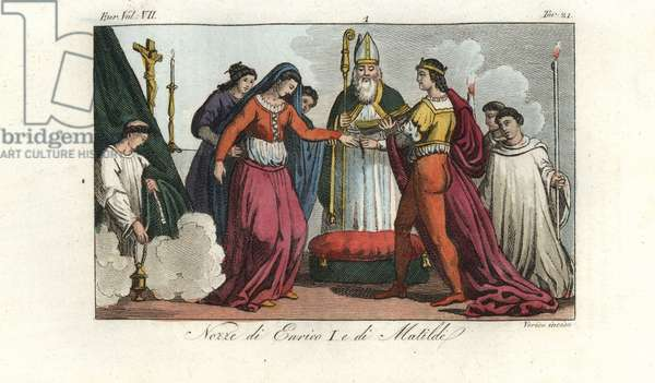 Marriage of King Henry I of England and Matilda of Scotland, 1100. Handcoloured copperplate engraving by Verico from Giulio Ferrario's Costumes Ancient and Modern of the Peoples of the World, 1847.