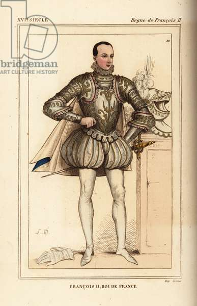 King Francis II of France in armour with helm and gauntlets. Illustration drawn and lithographed by Leopold Massard after a portrait in Roger de Gaignieres' gallery portfolio IX 3 from Le Bibliophile Jacob aka Paul Lacroix's Costumes Historique de la France (Historical Costumes of France), Administration de Librairie, Paris, 1852.