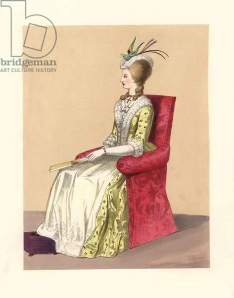 "Dress (Dress) of the reign of King George III, 1760-1820. She wears a tropical bird in her powdered hair, a crucifix around her neck, silk embroidered dress and petticoats, white gloves and fan. Based on a miniature by Christian Friedrich Zincke of Mrs. Elizabeth Montagu, print of the Duchess of Devonshire by Bartolozzi, and """" The Maiden Aunt"""""" 1776. Handcoloured lithograph from """" Costumes of British Ladies from the Time of William the First to the Reign of Queen Victoria"", London, Dickinson and Son, 1840."