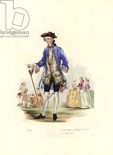 """Man's costume, under the reign of George II (1683-1760), 1751, wearing an embroidered vest under a large lapel coat, panties and stockings, buckle shoes, tricorn and wig, he wears a cane and a sword. From views of the gardens of Vauxhall (London, England). Lithograph by Charles Martin, engraving by Leopold Martin, published in """""""" Costumes civils d'Angleterre depuis la conquete à nos jours"""", 1842, London."""