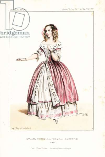 Opera singer Anna Thillon as Coriali in Cagliostro, Act III, by Eugene Scribe, Theatre Royal de l'Opera Comique, 1843. Handcoloured lithograph after an illustration by Victor Dollet from Galerie Dramatique: Costumes des Theatres de Paris, Paris, 1844.