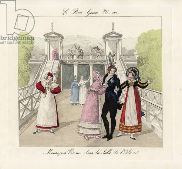 Masquerade party on the rollercoaster at the Salle de l'Odeon, 1815. Fashionable society at a masked ball in the pleasure gardens, and women wearing the Swiss Bernese style. Handcoloured engraving from Pierre de la Mesanger's Le Bon Genre, Paris, 1817.