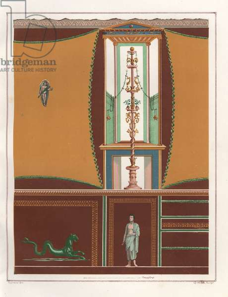 Wall painting with framed panels from an ostium (narrow corridor) in the Casa dell'Orso Ferito or House of the Bear, Reg. VII, Ins. II, No. 45. Chromolithograph by Victor Steeger after an illustration by Geremia Discanno from Emile Presuhn (1844-1878) The Most Beautiful Paintings of Pompeii, Leipzig, 1881.