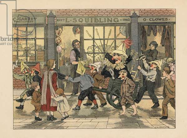 Fireworks Store - Victorian children pulling a Guy in a cart on Guy Fawkes night in front of L. Squibling's fireworks shop. Chromolithograph after an illustration by Francis Donkin Bedford from Edward Verrall Lucas' The Book of Shops, 1899.