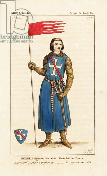 """Henri II Clement, Lord of Metz (Henri II Clement, seigneur of Mez et d'Argentan) marshal of France, died 1265. Holding the oriflame, battle standard of the King of France. He wears a suit of chainmail, a tunic with white cross, spurs, and sword. Taken from a stained glass window in Notre-Dame de Chartres, showing a knight receiving the oriflame from Saint Denis. Handcoloured copperplate drawn and engraved by Leopold Massard from """""""" French Costumes from KingClovis to Our Days,"""""""" Massard, Mifliez, Paris, 1834."""