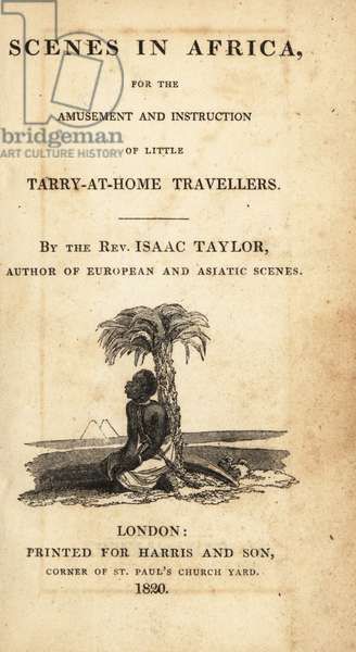 Title page with vignette of enslaved man with chain around his neck under a palm tree