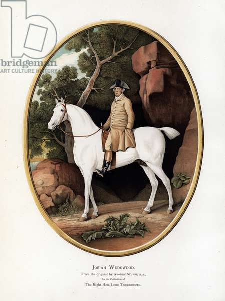 Portrait of Josiah Wedgwood on horseback from the original painting by George Stubbs. Chromolithograph by W. Griggs from Frederick Rathone's Old Wedgwood, the Decorative or Artistic Ceramic Work Produced by Josiah Wedgwood, Quaritch, London, 1898.