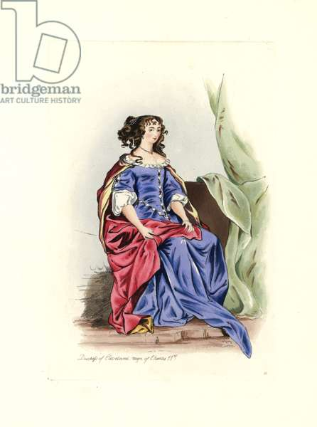 """Barbara Palmer (1640-1709), Duchess of Cleveland, mistress of Charles II (1630-1685), in a blue dress with lace and a red cape. By Peter Lely (1618-1680). Lithograph by Charles Martin, engraving by Leopold Martin, published in """""""" Costumes civils d'Angleterre depuis la conquete à nos jours"""", 1842, London."""