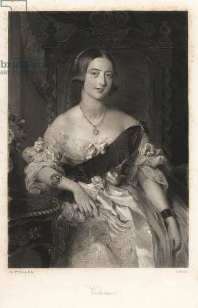 Portrait of Queen Victoria wearing a bracelet with an enamel portrait of Prince Albert. Steel engraving by F. Bacon after a portrait by Sir William Ross from Mary Howitt's Biographical Sketches of The Queens of England, Virtue, London, 1868.