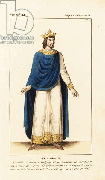 """Chlothar II, King of Neustria and King of all the Franks, 613-628. He wears a crown, long tunic with gold embroidery at the hem and cuffs, long cape and gem-encrusted gold necklace. Handcoloured copperplate drawn and engraved by Leopold Massard from """""""" French Costumes from KingClovis to Our Days,"""""""" Massard, Mifliez, Paris, 1834."""