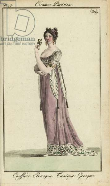 Fashionable woman in Etruscan hairstyle, Greek-style tunic, 1801 (handcoloured copperplate engraving)