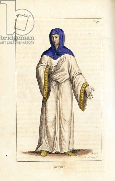 """Bertha, daughter of King Lothair II and his concubine Waldrada, 863-925. She wears a veil tied at the throat, and two tunics, the top one with gold cuffs. Handcoloured copperplate drawn and engraved by Leopold Massard from """""""" French Costumes from KingClovis to Our Days,"""""""" Massard, Mifliez, Paris, 1834."""