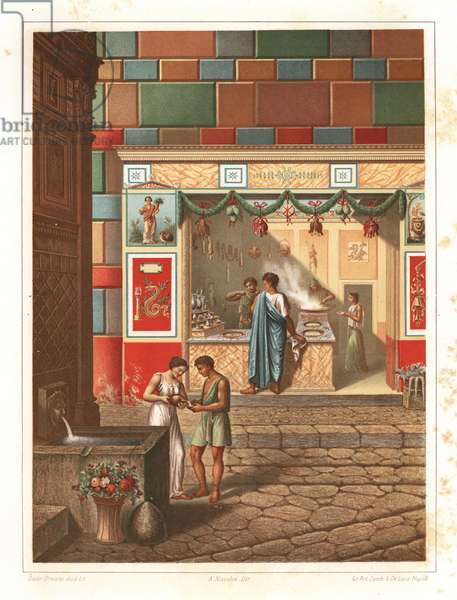 Thermolopium or taberna near the fountain of Mercury, VI.5, Pompeii. A man cooks food at a stove, while a women serves a customer using scales. The walls are decorated with murals of the agathodemon snake and the goddess Fortune. Cured meats hang from the ceiling. Chromolithograph and illustration by Oscar Dressler from Antonio Niccoliniõs Pompeii: Views and Restorations (Pompeii: Essaies et Restorations), published by Zucchi & De Luca, Naples, 1898. Antonio was grandson of the architect Antonio Niccolini Sr.