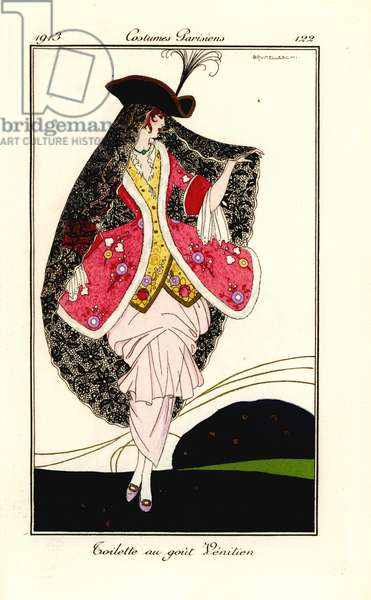 Woman in fashionable outfit in the Venetian taste, 1913.
