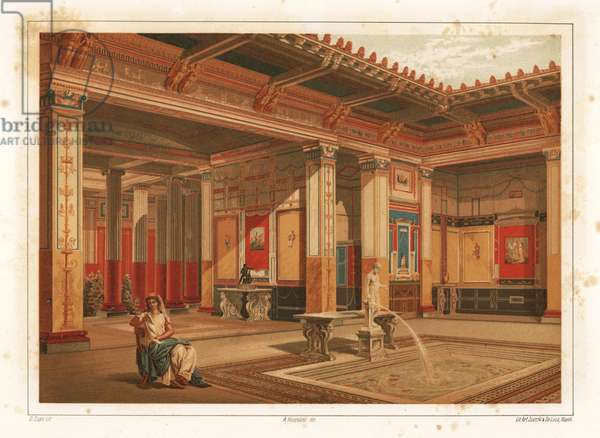 Interior of a House in Regio VIII, insula 2, Pompeii. Woman reading near a fountain in the impluvium (pool). Chromolithograph by D. Capri from Antonio Niccoliniõs Pompeii: Views and Restorations (Pompeii: Essaies et Restorations), published by Zucchi & De Luca, Naples, 1898. Antonio was grandson of the architect Antonio Niccolini Sr.