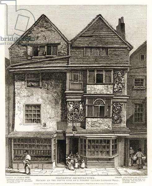 Stuart Houses from the reign of King Charles I in the Foliated Style on the south side of London Wall street, 1808. Oak timber house with plaster foliage. Characters depicted include itinerant spoon-seller William Conway and distitute fishmonger John Bryson with sneakers of nuts. Copperplate engraving drawn and etched by John Thomas Smith from his Topography of London, 1812.
